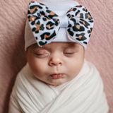 White Lucy Leopard Bow Baby Newborn Girl Hospital Hat - White Hat with Leopard Bow