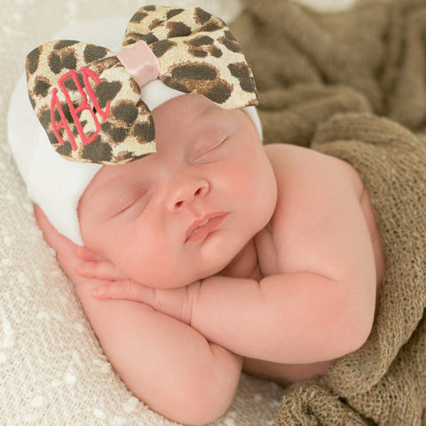 Monogrammed Leopard Bow Baby Newborn Girl Hospital Hat - White Hat with Leopard Fabric Bow