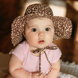 Leopard Print Wide Brim Sun Hat for Baby and Toddler Girls - Personalization Option