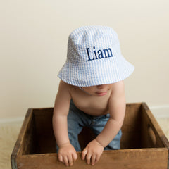 Blue & White Seersucker Personalized Sun Hat for Baby and Toddler Boys icon