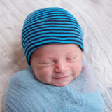 Bright Blue & Navy Blue Striped Newborn Hospital Hat