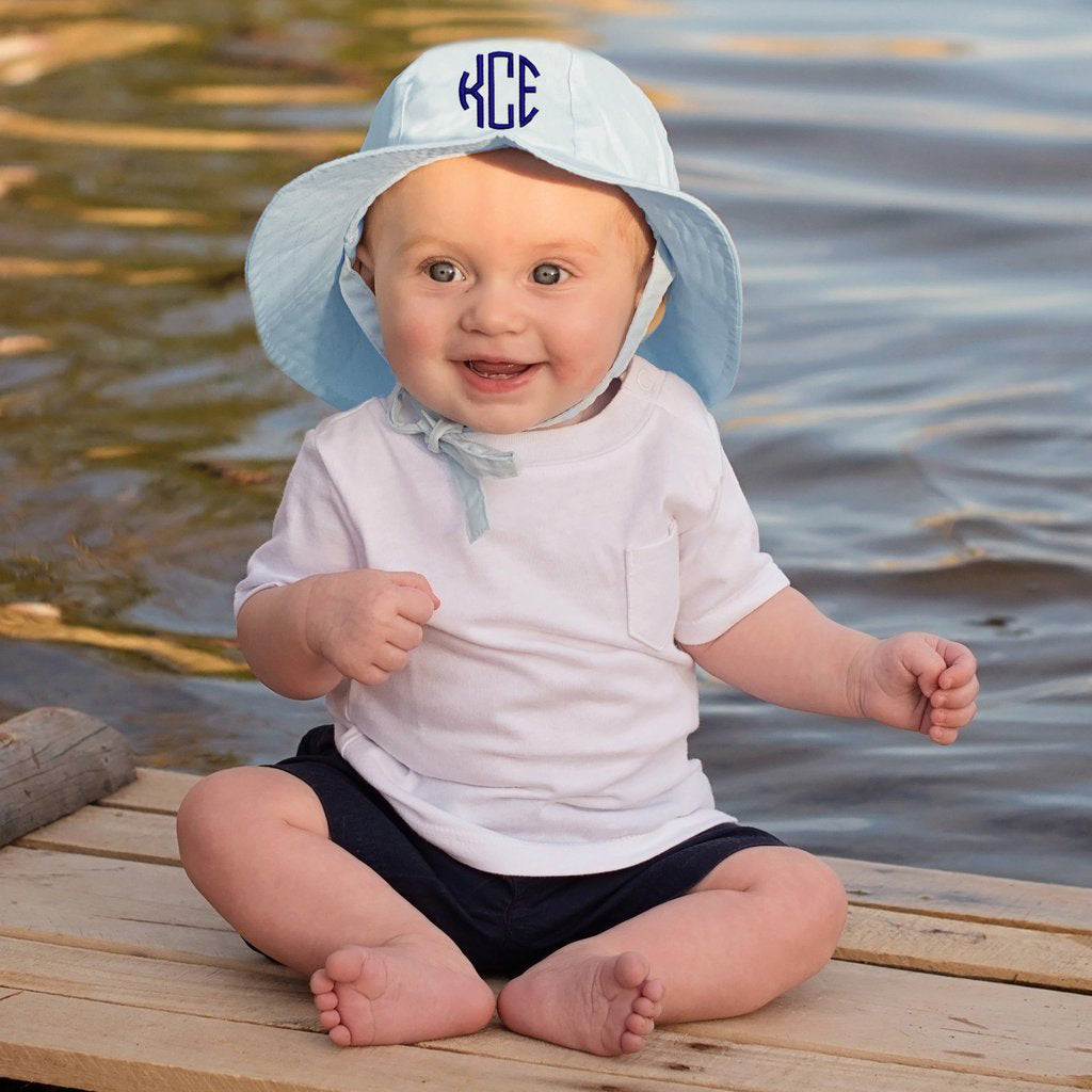 Light Baby  Blue Monogrammed Sun Hat for Baby and Toddler Boys - Choice of thread colors