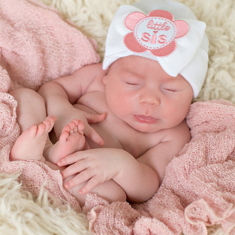 Little Sis Flower Patch WHITE Big Bow Newborn Girl Hospital Hat