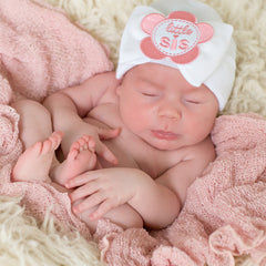 Little Sis Flower Patch WHITE Big Bow Newborn Girl Hospital Hat icon