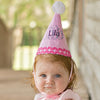 Pink and White Personalized Monogram and Name Birthday Cone for Baby and Toddler GIRLS