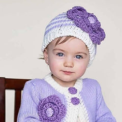 Pretty Purple Striped Flower Beanie for Baby or Toddler Girl icon