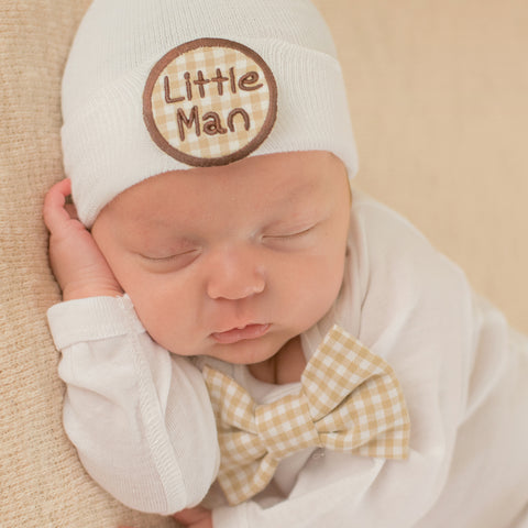 Little Man Gingham Bow Tie and Beanie SET - Newborn Boy Take Home Set - Newborn Boy Hat and Bow tie SET