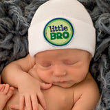 Solid White Little Bro Newborn Boy Hospital Hat