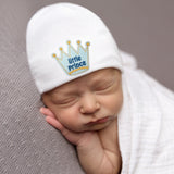 Little Prince Newborn Boy Hospital Hat - White Hat