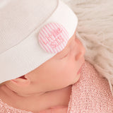 Pink and White Seersucker Covered Button Little SIS Newborn Girl Hospital Hat