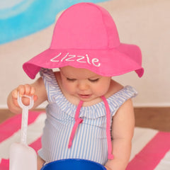 Bright Pink Baby and Toddler Sun Hat with Sun Protection - Personalization Option icon
