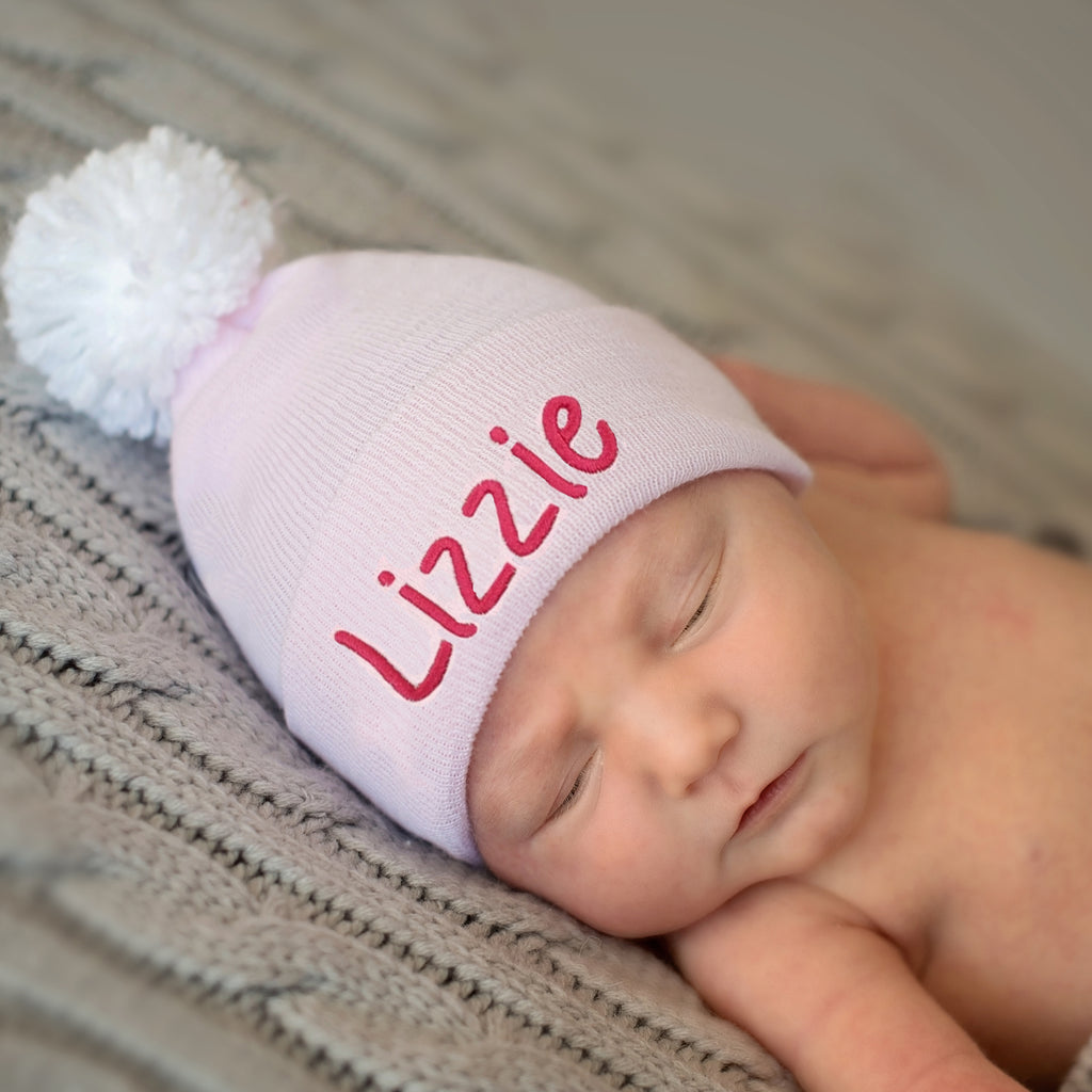 Solid Pink with White Pom Personalized Newborn GIRL hospital hat
