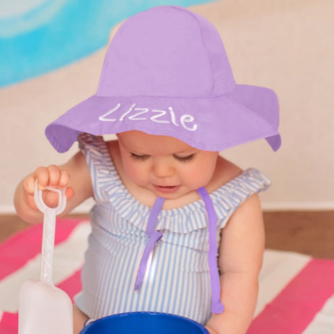 Lizzie Lavender Baby and Toddler Sun Hat with Sun Protection - Personalization Option