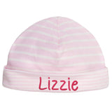 Organic Egyptian Cotton Pink and White Striped Baby Beanie Personalized