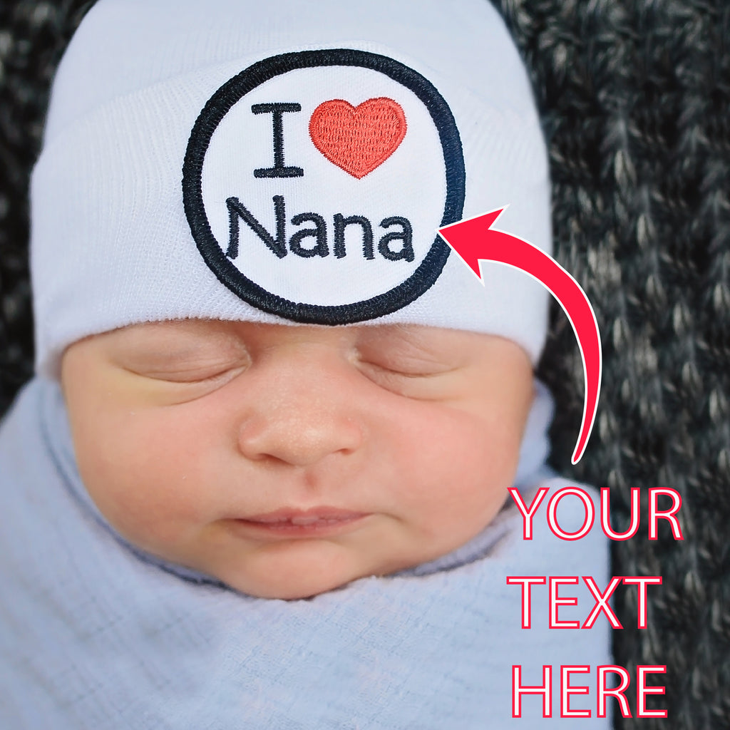 I LOVE (BLANK) Newborn Hospital Hat - Gender Neutral Newborn Hat - I LOVE - pick your own
