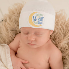 I Love You to the Moon and Back Newborn Hospital Hat - Gender Neutral White Hospital Hat icon