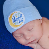 Blue I Love You to the Moon and Back Newborn Hospital Hat - Boy Newborn Hospital Hat
