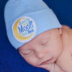 Blue I Love You to the Moon and Back Newborn Hospital Hat - Boy Newborn Hospital Hat icon
