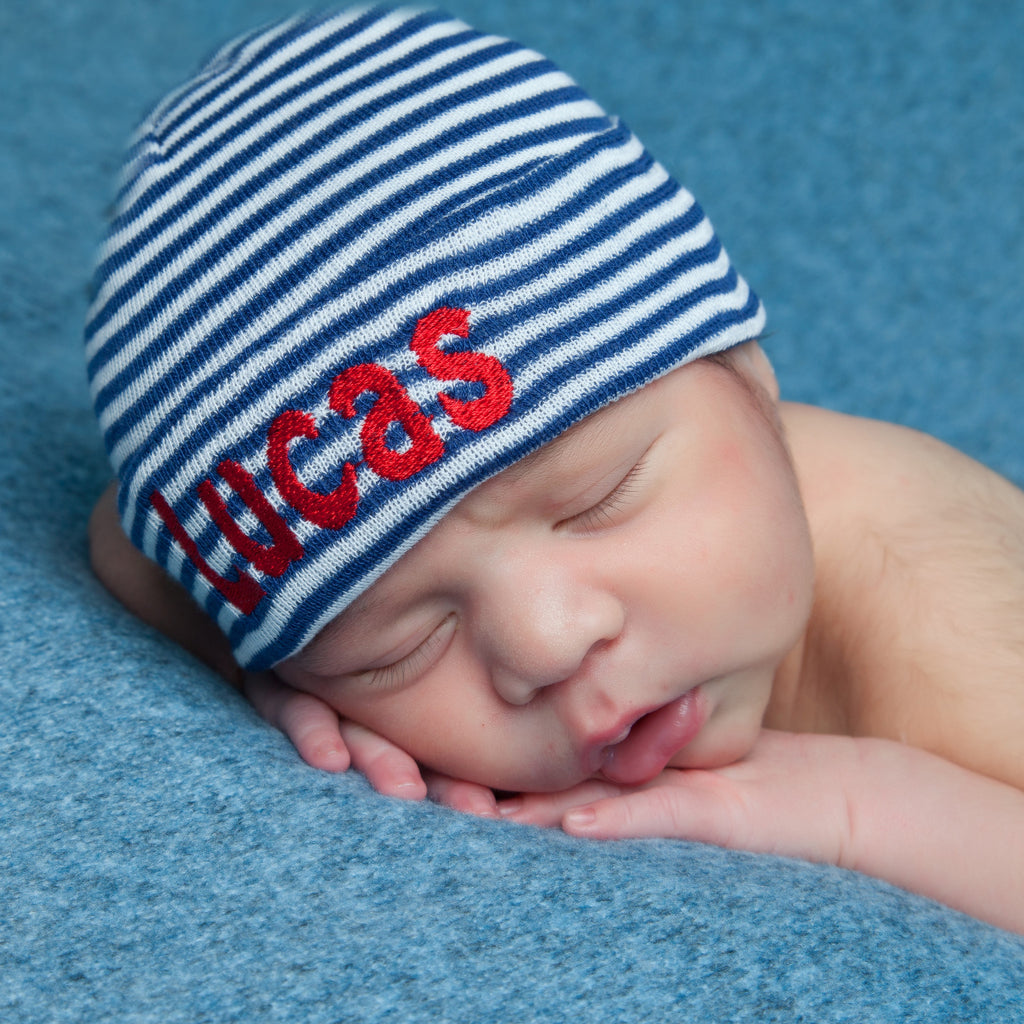 Navy and White Personalized Newborn BOY Red Lettering - Hobo Font