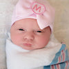 Pink and White Seersucker Initial Patch Pink Big Bow Newborn Girl Hospital Hat