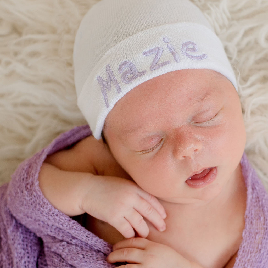 Hot Air Balloon Font White Personalized Newborn GIRL hospital hat
