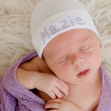 Personalized Newborn GIRL hospital hat - White Hat with Font and Thread Choice