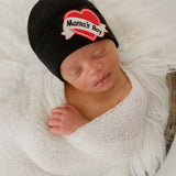 Mama's Boy Tattoo Hospital Hat - Black Newborn Hat