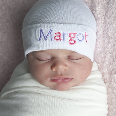 Double Colored Letters White Personalized Newborn GIRL Hospital Hat ... 91b908dc2e9
