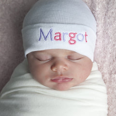 Double Colored Letters White Personalized Newborn GIRL Hospital Hat - PINK and Purple Letters icon
