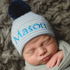 Personalized Grey and White Striped Newborn Boy Hospital Hat with NAVY BLUE Pom Pom icon