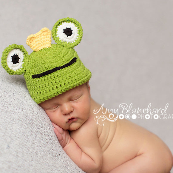 Baby Froggy Prince Hand Knit Crochet Baby Boy Hat