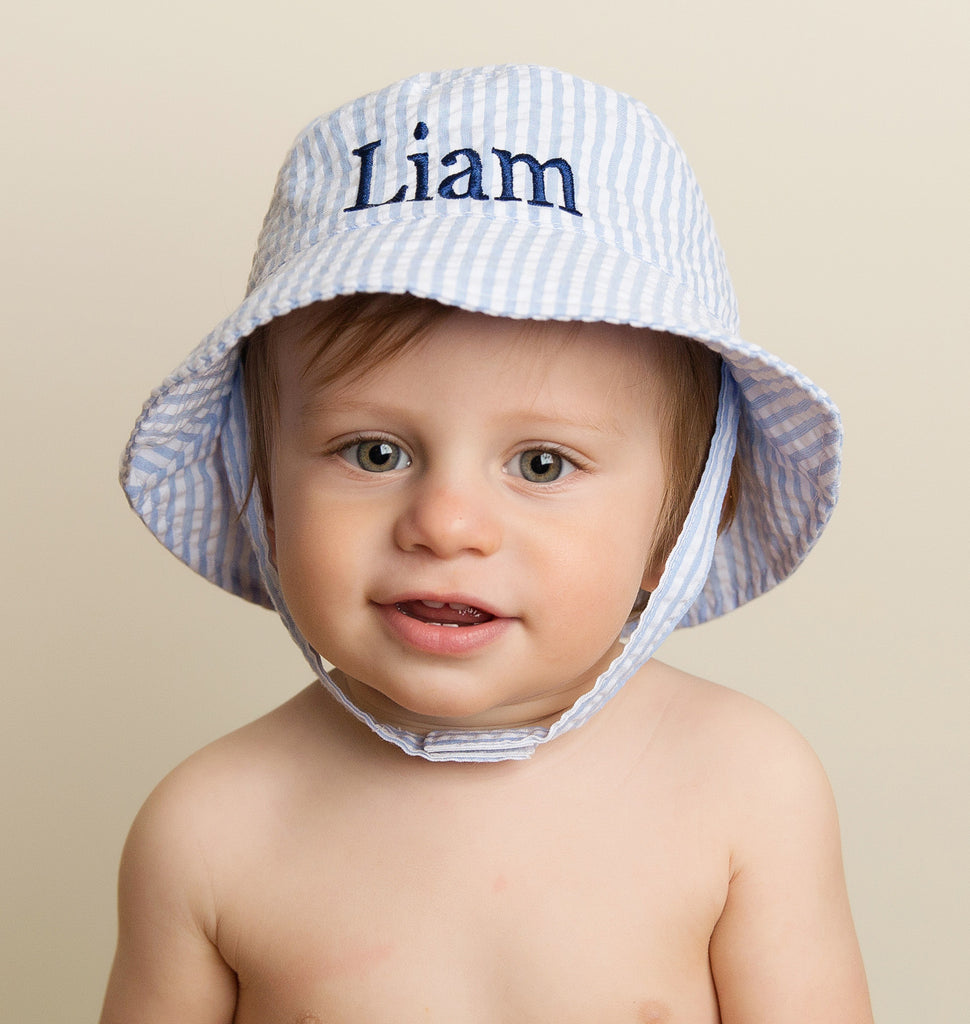 Blue & White Seersucker Personalized Sun Hat for Baby and Toddler Boys