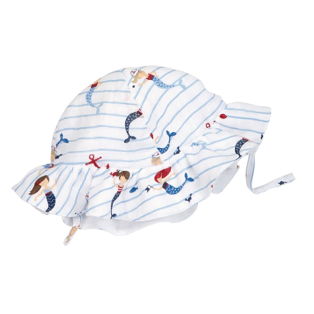 Mermaid and Stripes Muslin Baby Girl Sun Hat - Baby and Toddler Girls