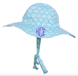 Aqua Mermaid Scales Baby and Toddler Sun Hat -PERSONALIZED Option - Name or Monogram