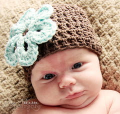 Mint Chocolate Flower Crochet Beanie Baby Hat icon