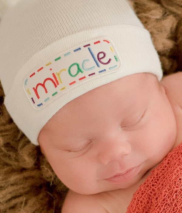 Miracle Patch Baby Hat - White - Gender Neutral Hospital Hat