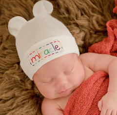White Miracle Rainbow Lettered Baby Bear Newborn Boy or Girl Hospital Hat - Gender Neutral icon