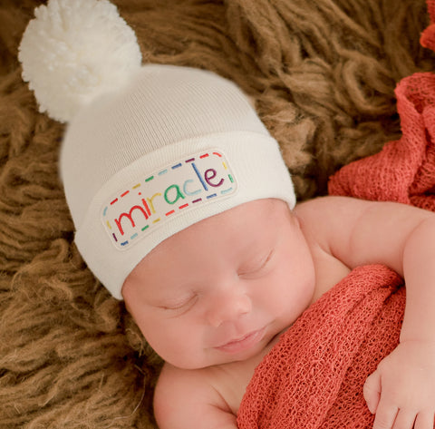 Miracle Rainbow Pom Pom and Miracle Patch Baby Hat - White - Gender Neutral Hospital Hat