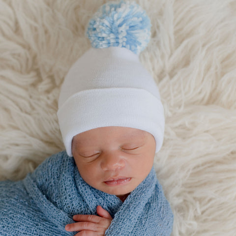 White Hat with Mixed Blue and White Pom Pom Newborn Boy Hospital Hat
