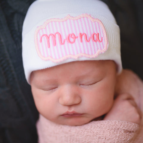 Personalized Pink and White Seersucker Name Newborn GIRL White Hospital Hat