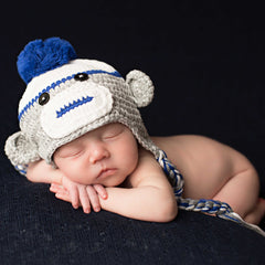 Baby Boy Blue Sock Monkey Hat icon