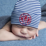 Navy and White Striped Circle Monogram Newborn BOY hospital baby hat