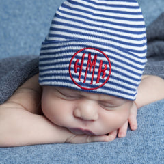 Navy and White Striped Circle Monogram Newborn BOY hospital baby hat icon