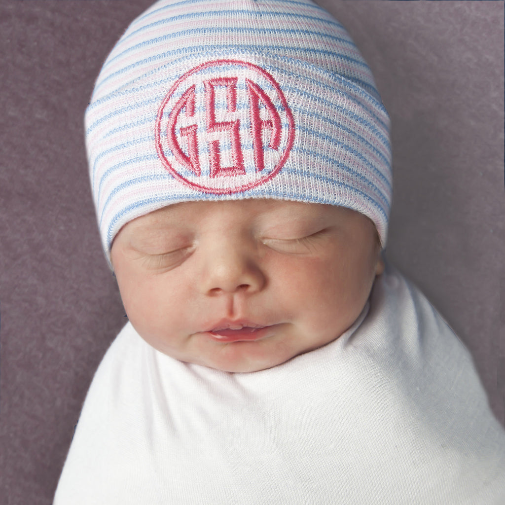 Traditional Striped Newborn Hospital Hat with Monogram - Many Thread Colors