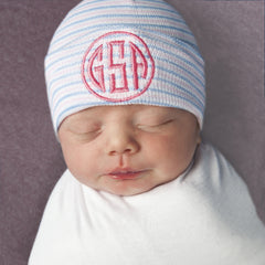 Traditional Striped Newborn Hospital Hat with Monogram - Many Thread Colors icon