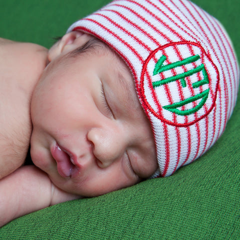 Striped Christmas Circle Monogram Newborn GENDER NEUTRAL  Hospital Hat