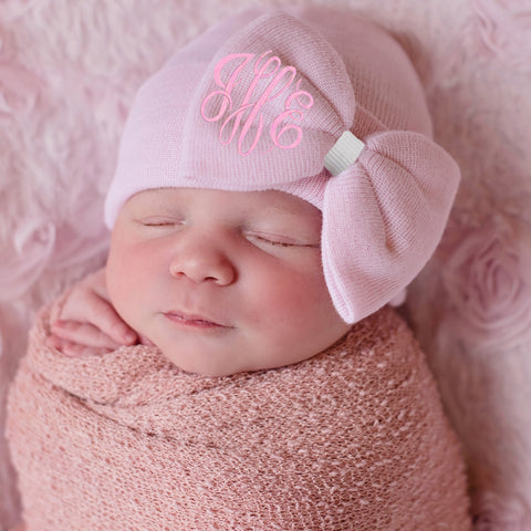 PINK Bow Hat with Monogrammed Initials Nursery Newborn GIRL hospital hat