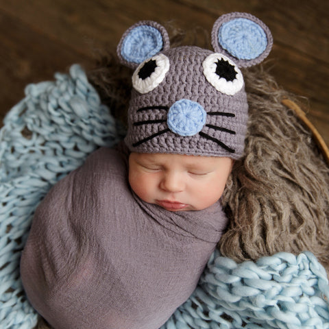 Quiet as a Mouse Baby Boy Hat