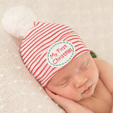My First Christmas Striped Hospital Hat with White White Pom Pom - Newborn Christmas Hat