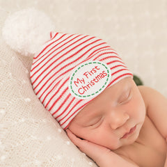 My First Christmas Striped Hospital Hat with White White Pom Pom - Newborn Christmas Hat icon